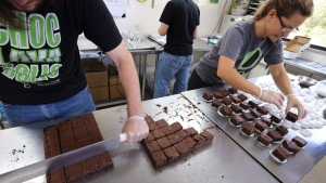 In this Sept. 26, 2014, file photo, smaller-dose pot-infused brownies are divided and packaged at The Growing Kitchen in Boulder, Colo.THE CANADIAN PRESS/AP /Brennan Linsley