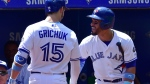 Toronto Blue Jays right fielder Randal Grichuk (15) celebrates his solo home run against the Washington Nationals with Devon Travis during second inning interleague baseball action in Toronto on Sunday, June 17, 2018. THE CANADIAN PRESS/Frank Gunn