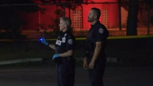 Toronto police investigate a shooting at Yorkwoods Plaza Sunday June 17, 2018.