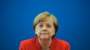 German Chancellor Angela Merkel attends a leaders meetings of her Christion Democratic Union party at the party's headquarters in Berlin, Monday, June 18, 2018. (AP Photo/Markus Schreiber)