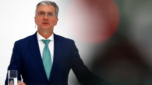 In this Thursday, March 15, 2018 file photo, Rupert Stadler, CEO of German car producer Audi, briefs the media during the annual press conference in Ingolstadt, Germany. German authorities have detained the chief executive of Volkswagen's Audi division, Rupert Stadler, as part of a probe into manipulation of emissions controls. (AP Photo/Matthias Schrader)