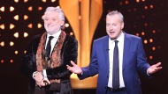 Bruce Hills, COO, right, and Gilbert Rozon, founder of Just for Laughs accept the prestigious Icon Award at the 2017 Canadian Screen Awards in Toronto on Sunday, March 12, 2017. THE CANADIAN PRESS/Peter Power