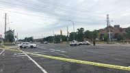 Police tape is shown at the scene of a fatal collision that claimed the life of a pedestrian in Markham on Monday.