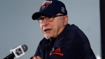 Washington Capitals head coach Barry Trotz speaks to the media, Sunday, June 3, 2018, at in Arlington, Va. The Capitals will host the Vegas Golden Knights in Game 4 of the NHL hockey Stanley Cup Final Monday night in Washington. (AP Photo/Bill Sikes)