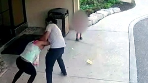 A screenshot of video showing an incident in Brampton involving a 23-year-old female victim is shown. (Peel Regional Police)