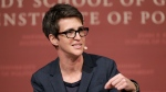 "FILE - In this Oct. 16, 2017 file photo, MSNBC television anchor Rachel Maddow, host of the Rachel Maddow Show, moderates a panel, at a forum called ""Perspectives on National Security,"" at the John F. Kennedy School of Government, on the campus of Harvard University, in Cambridge, Mass. Maddow broke down on her show live Tuesday evening, June 19, 2018, while trying to read an exclusive Associated Press story about babies and toddlers taken from their parents at the southern border and being sent to ""tender age"" shelters. (AP Photo/Steven Senne, File)"
