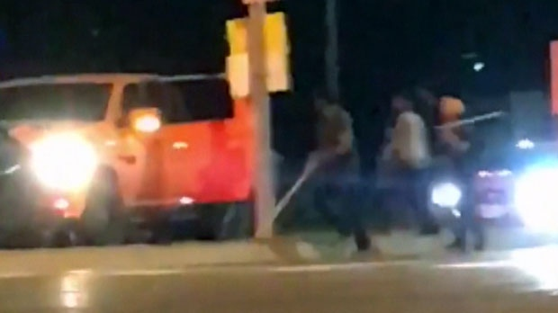 Men are seen swinging bats in viewer video of a June 20, 2018 assault submitted to CTV News Toronto.