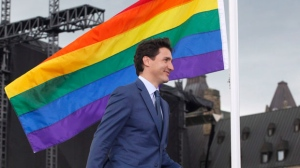 Prime Minister Justin Trudeau arrives at a pride flag raising ceremony on Parliament Hill in Ottawa on Wednesday, June 20, 2018. THE CANADIAN PRESS/ Patrick Doyle