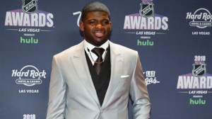 P.K. Subban of the Nashville Predators poses on the red carpet before the NHL Awards, Wednesday, June 20, 2018, in Las Vegas. (AP Photo/John Locher)
