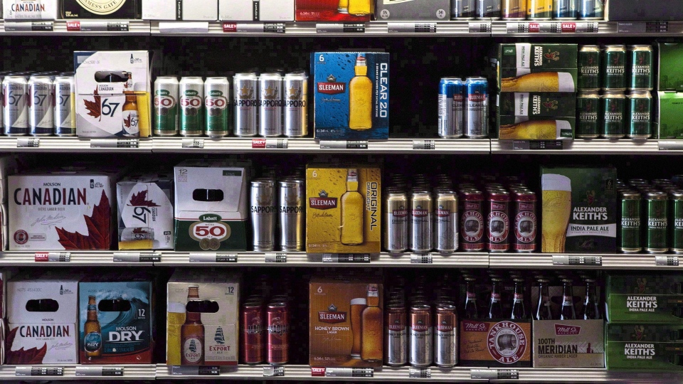 Beer products are on display at a Toronto beer store on Thursday, April 16, 2015. Your beer is about to undergo a government makeover. THE CANADIAN PRESS/Chris Young