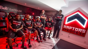 Raptors Uprising GC Seanquai Harris, left to right, Joshua McKenna, Kenneth Hailey, Christopher Doyle, Trevion Hendrix, and Yusuf Abdulla pose for a photo at their Bell Fibe House in Toronto on Thursday, June 21, 2018. THE CANADIAN PRESS/ Tijana Martin