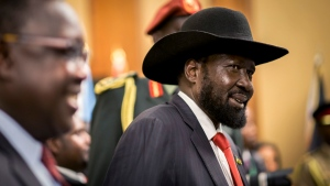 "South Sudan's President Salva Kiir attends peace talks at a hotel in Addis Ababa, Ethiopia Thursday, June 21, 2018. South Sudan's armed opposition on Thursday rejected any ""imposition"" of a peace deal to end the five-year civil war and asked for more time after the first face-to-face meeting between President Salva Kiir and rival Riek Machar in almost two years. (AP Photo/Mulugeta Ayene)"