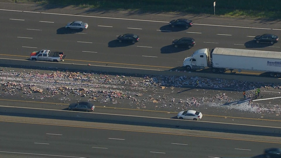 Spilled yogurt is shown on Hwy. 401 on Friday morning following a collision.