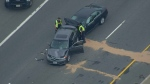 Two vehicles involved in a collision on Hwy. 401 near Hwy. 400 are shown on Friday afternoon.