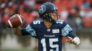 Toronto Argonauts quarterback Ricky Ray (15) prepares to make a throw during the first half of CFL football game action against the Calgary Stampeders at BMO Field in Toronto, Ontario on Saturday June 23, 2018. THE CANADIAN PRESS/Cole Burston