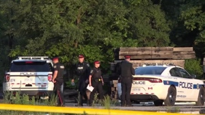 Police are seen in an open area near woods where a burning car with a body inside was discovered on June 24, 2018. (CP24)