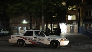 A man was shot and killed near Sherbourne and Dundas streets early Monday morning. (Mike Nguyen/ CP24)