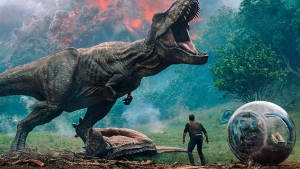 "This image released by Universal Pictures shows a scene from the upcoming ""Jurassic World: Fallen Kingdom."" (Universal Pictures via AP)"