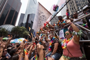 Revelers take part in Mexico City's gay pride parade, Saturday, June 23, 2018. Thousands marched down Paseo de la Reforma for one of the largest gay pride events in Latin America. (AP Photo/Christian Palma)