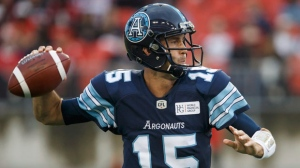 Toronto Argonauts quarterback Ricky Ray (15) prepares to make a throw during the first half of CFL football game action against the Calgary Stampeders at BMO Field in Toronto, Ontario on Saturday June 23, 2018. Ray will miss ``significant time'' from the CFL season after being released from a Toronto hospital. THE CANADIAN PRESS/Cole Burston