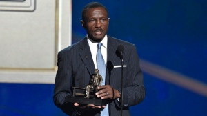 Dwane Casey, current head coach of the Detroit Pistons, accepts the coach of the year award for his work with the Toronto Raptors at the NBA Awards on Monday, June 25, 2018, at the Barker Hangar in Santa Monica, Calif. (Photo by Chris Pizzello/Invision/AP)