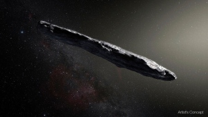 "This artist's rendering provided by the European Southern Observatory shows the interstellar object named ""Oumuamua"" which was discovered on Oct. 19, 2017 by the Pan-STARRS 1 telescope in Hawaii. In the Wednesday, June 27, 2018 edition of the journal Nature, a European-led team makes the case it is a comet, not an asteroid. (M. Kornmesser/European Southern Observatory via AP)"