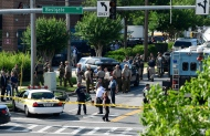 Police secure the scene of a shooting at an office building housing The Capital Gazette newspaper in Annapolis, Md., Thursday, June 28, 2018. (AP Photo/Susan Walsh)