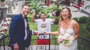 Actor Adam Sandler made a cameo in a Montreal couple's wedding photoshoot on Sunday. THE CANADIAN PRESS/HO-Sana Belgot from Mlle Sana Photography MANDATORY CREDIT
