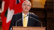 Vic Fedeli speaks as he is sworn as Finance Minister during a ceremony at Queen's Park in Toronto on Friday, June 29, 2018. THE CANADIAN PRESS/Mark Blinch
