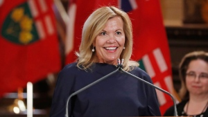 Deputy Minister and Health Minister Christine Elliott speaks during a swearing-in ceremony at Queen's Park in Toronto on Friday, June 29, 2018. THE CANADIAN PRESS/Mark Blinch