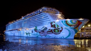 This Jan. 30, 2014 photo shows the cruise ship Norwegian Getaway in the icy Hudson River in New York. (AP Photo)