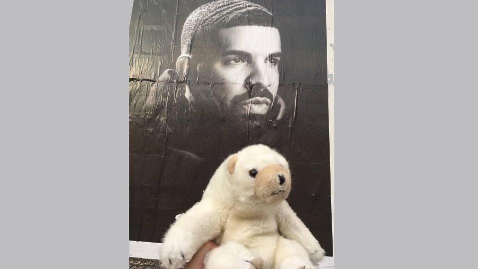 'Ossington Bear' hangs out near a poster of Drake Monday July 2, 2018. (Rhonda Riche)