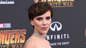 "In this April 23, 2018 file photo, Scarlett Johansson arrives at the world premiere of ""Avengers: Infinity War"" in Los Angeles.  (Photo by Jordan Strauss/Invision/AP, File)"