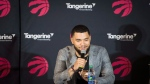 Toronto Raptors' Fred VanVleet speaks at the MLSE LaunchPad in Toronto on Friday, July 6, 2018. THE CANADIAN PRESS/Tijana Martin