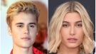 This combination photo shows singer Justin Bieber at the Cannes festival palace in Cannes, southeastern France on Nov. 7, 2015, left, and model Hailey Baldwin at the Billboard Music Awards in Las Vegas on May 20, 2018. (AP Photo)