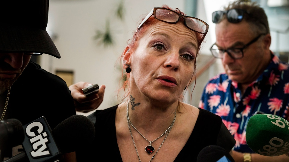 Shanan Dionne, mother of Rori Hache, speaks to press in Whitby, Ont., on Tuesday, July 10, 2018 after Durham Regional Police reveal at a press conference that the DNA of Kandis Fitzpatrick was found in a home in Oshawa, Ont., where remains of Hache were also found. THE CANADIAN PRESS/Christopher Katsarov