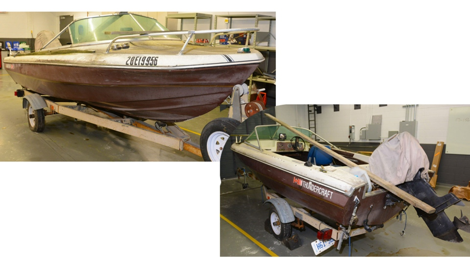 An 18-foot boat belonging to Adam Strong is pictured in this photo released by Durham Regional Police on July 10, 2018.