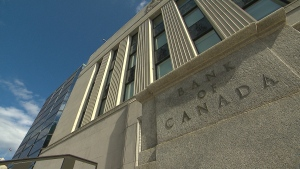 The exterior of the Bank of Canada building is seen.