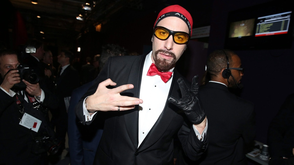 Sacha Baron Cohen appears backstage at the Oscars on Sunday, Feb. 28, 2016, at the Dolby Theatre in Los Angeles. (Photo by Matt Sayles/Invision/AP)