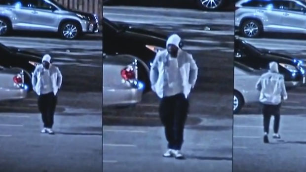 A man believed to be the suspect in the shooting death of Karim Hirani is shown in a surveillance camera image. (TPS)