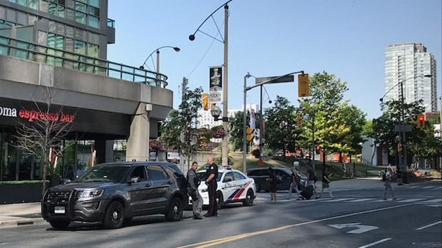 Police cruisers are seen around the Scotiabank Arena on Thursday morning. (Cristina Tenaglia/ CP24)