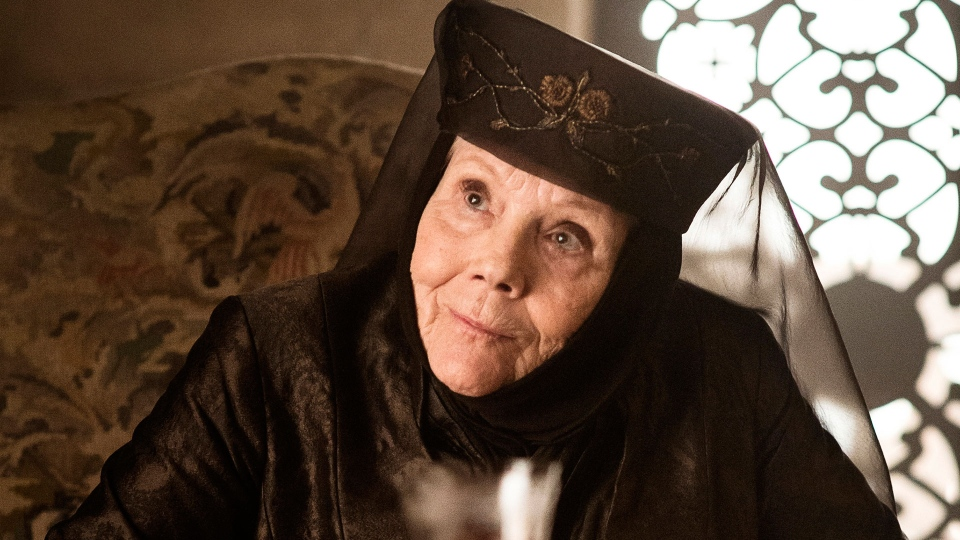 "This image released by HBO shows Diana Rigg in a scene from ""Game of Thrones."" (HBO via AP)"