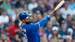 Toronto Blue Jays' Kevin Pillar follows through on an RBI-double during the second inning of a baseball game against the Boston Red Sox in Boston, Friday, July 13, 2018. (AP Photo/Michael Dwyer)