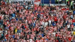 Croatia's fans cheer prior to the final match between France and Croatia at the 2018 soccer World Cup in the Luzhniki Stadium in Moscow, Russia, Sunday, July 15, 2018. (AP Photo/Petr David Josek)
