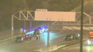 Five people were rushed to hospital following a serious collision on Highway 401 in North York.