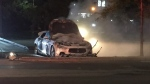 """A """"suspicious"""" vehicle fire destroyed a Maserati at an Etobicoke parking lot on Sunday night. (Mike Nguyen/ CP24)"""