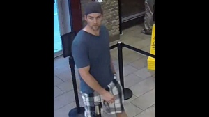 A suspect wanted in connection with a sexual assault on June 19, 2018 is shown in a surveillance camera image. (TPS)