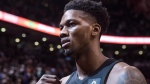 Toronto Raptors Alfonzo McKinnie comes off the court after his team's 130-105 win over Portland Trail Blazers in NBA basketball action in Toronto on Friday, February 2, 2018. THE CANADIAN PRESS/Chris Young