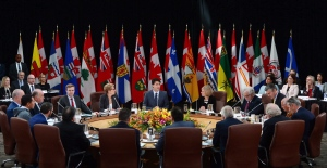 Three of the country's largest Indigenous organizations are bowing out of a meeting with Canada's premiers in New Brunswick, making it the second year in a row the groups are not attending talks ahead of a summer gathering of provincial leaders. Prime Minister Justin Trudeau meets with first ministers and national indigenous leaders during the First Ministers Meeting in Ottawa on Tuesday, Oct. 3, 2017. THE CANADIAN PRESS/Sean Kilpatrick