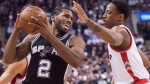 Toronto Raptors' guard DeMar DeRozan (10) battles for the ball against San Antonio Spurs' forward Kawhi Leonard (2) during first half NBA basketball action, in Toronto, on Wednesday, Dec. 9, 2015. According to multiple reports, the Raptors appear to be on the verge of finalizing a blockbuster trade.The reports have the Raptors sending DeRozan to the San Antonio Spurs in a deal that will see fellow all-star Leonard come to Toronto. THE CANADIAN PRESS/Nathan Denette